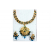 Beautiful Blue & White Kundan Stones Necklace Set With Earrings