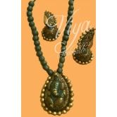 Ganesha Pendant Terracotta Necklace Set With Jumka Earrings