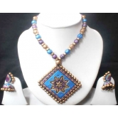 Beautiful Blue Terracotta Necklace Set With Earrings