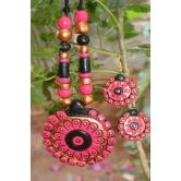 Balck And Pink Terracotta Necklace Set With Earrings