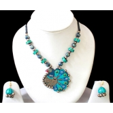 Beautiful Dancing Peacock Terracotta Necklace Set With Earrings