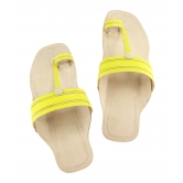 Ekolhapuri Yellow Color Flat Heel Leather Sandal