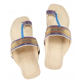 Ekolhapuri Attractive Blue Jari  Upper Authentic Kolhapuri Chappal For Women