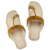 Ekolhapuri Four Braided  And Light Yellow  Upper Handcrafted Ladies Sandal