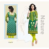 Selfie Unstitch Green And Yellow  Color  Egyptian Sattin Cotton Kurti Material D.s. No : 707