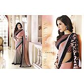 Sophie Choudry Designer Peach And Grey Padding Georgette Fancy Saree