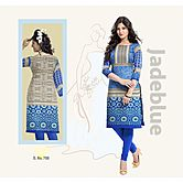Selfie Unstitch Blue And Black Color  Egyptian Sattin Cotton Kurti Material D.s. No : 708