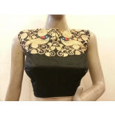 Intrigue Black Dupion Silk Front Zari Embroidered Blouse.