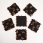 Tea Coaster Square Set Of 6-black, Red, Cream