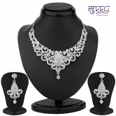 Sukkhi Incredible Rhodium Plated Australian Diamond Necklace Set - Anklets By Sukkhi Fashion