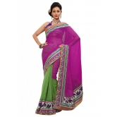 Triveni Indian Ethnic Impressive Broad Bordered Jute Silk Saree - Silk Sarees By Trivenisarees