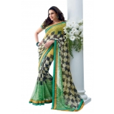 Triveni Latest Indian Designer Classy Checkered Patterned Printed Saree - Chiffon Sarees By Trivenisarees
