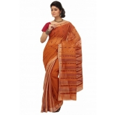 Triveni Orange Cotton Printed Without Blouse Saree Tsmrtc2099 - Cotton Sarees By Trivenisarees