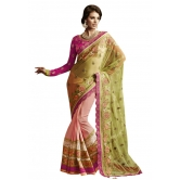 Triveni Marvelous Embroidered Lace Bordered Wedding Wear Net Saree 3107 - Net Sarees By Trivenisarees