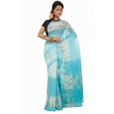 Triveni Sky Blue Cotton Printed Without Blouse Saree Tsmrtc2107 - Cotton Sarees By Trivenisarees