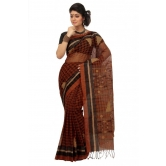 Triveni Brown Cotton Printed Without Blouse Saree Tsmrtc2101 - Cotton Sarees By Trivenisarees