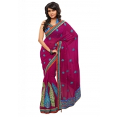 Triveni Indian Ethnic Admirable Floral Embroidered Chiffon Saree - Chiffon Sarees By Trivenisarees
