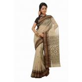Triveni Beige Cotton Printed Without Blouse Saree Tsmrtc2102 - Cotton Sarees By Trivenisarees