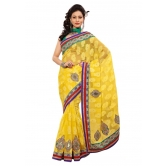 Triveni Indian Ethnic Remarkable Embroidered Chiffon Jacquard Sari - Chiffon Sarees By Trivenisarees