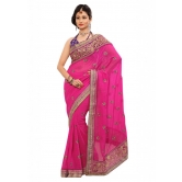 Triveni Indian Ethnic Evoking Floral Embroidered Chiffon Saree - Chiffon Sarees By Trivenisarees