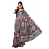 Triveni Sophisticated Grey Colored Cotton Printed Indian Traditional Saree - Cotton Silk Sarees By Trivenisarees