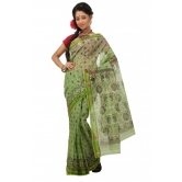 Triveni Green Cotton Printed Without Blouse Saree Tsmrtc2093 - Cotton Sarees By Trivenisarees