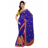 Triveni Indian Ethnic Striking Traditional Embroidered Chiffon Sari - Chiffon Sarees By Trivenisarees