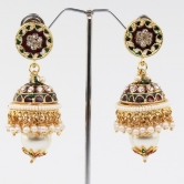 White Beads With White Stone  Earring