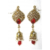 Beautiful Kashmiri Style Gorgeous Dangling Earring In Red  Color With Faux Kundan