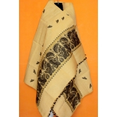 Eri & Cotton Mix Silk Shawl From Assam-black Weaving With Guna Work