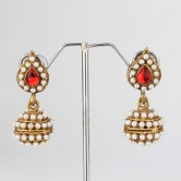 Red Leaf Pearl Jhumki Earrings