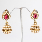 Pink Leaf Pearl Jhumki Earrings