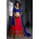 Desibutik\'s Party Wear Pleasant Orange Soft Net Lehenga