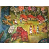 Silk Painting On Raw Silk Of An Abstract Indian Village Scene - Art On Fabric
