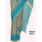 Daily Wear / Casual Wear Grey Blue Printed Saree Synthetic Sari