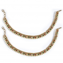 Luxor Pair Of Traditional Stone And Pearl Anklets-1092