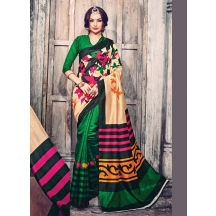 Saara Green Printed Bhagalpuri Silk Casual Wear Saree With Unstitched Blouse