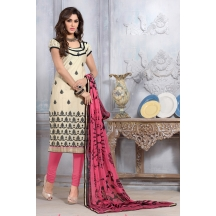 Sareemall Beige Embroidered Dress Material Suit With Matching Dupatta 5aks9002