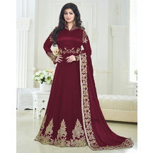 Gorgeous Maroon Georgette Embroidered Party Wear Salwar Suit