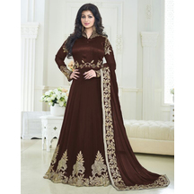 Stunning Brown Georgette Embroidered Party Wear Salwar Suit
