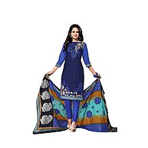 World Of Style Blue Block Printed Cotton Salwar Suit With Dupatta