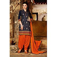 Style By India Blue & Orange Embroidered Santoon Salwar Suit With Dupatta