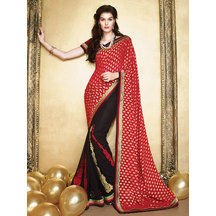 Li Te Ra Red And Black Faux Georgette Embroidery Saree With Unstitched Blouse Piece