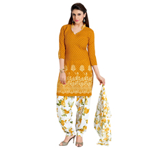 Designer Orange Color Printed Unstitched Patiyala Salwar Suit