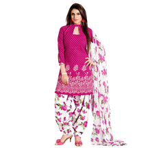 Designer Pink Color Printed Unstitched Patiyala Salwar Suit