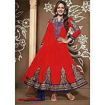 Li Te Ra (tm) New Designer Red And Navy Blue Semi Stitched Anarkali Suit