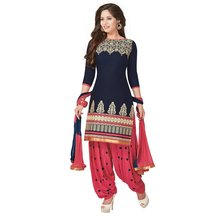 Li Te Ra(tm) New Latest Designer Blue And Pink Cotton Patiyala Salwar Suit
