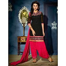 Li Te Ra(tm) New Latest Designer Black And Pink Patiyala Salwar Suit
