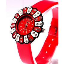 New Stylish Flower Desigened Red Dial Analog Women\'s Watch-12