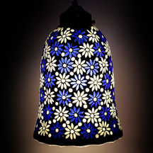 Earthenmetal Handcrafted Blue & White Flower Design Mosaic Decorated  Bell Shaped Hanging Glass Light